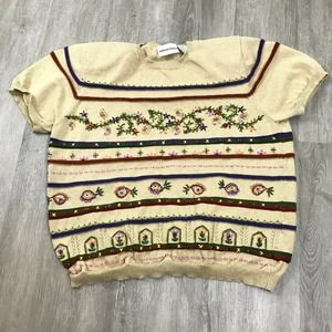 Alfred Dunner Studded Embroidered Sweater Sz M Tan